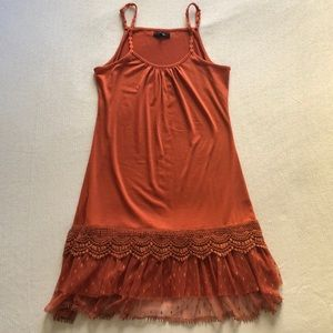 Ryu Orange Lace Trim Tulle Ruffle Slip Dress